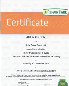 Scan of Window Care Repair Certificate 2015